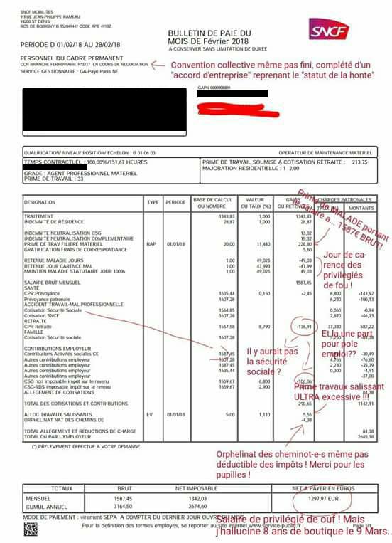 Ces 13 bulletins de paie de cheminots qui ne vous feront - Grille salaire infirmiere territoriale ...